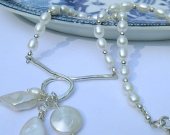 Unique White Freshwater Pearl and Sterling Silver Necklace