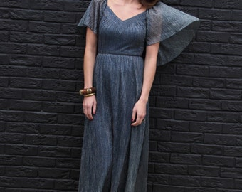 Glitterbug, Vintage, Charcoal Green Shimmer Maxi Dress with Cape Sleeves, from Paris