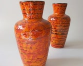 Vintage Fat Lava Vases Red Orange Scheurich