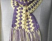 Crochet Scarf Purple Yellow Mercerized COTTON Long Skinny scarf