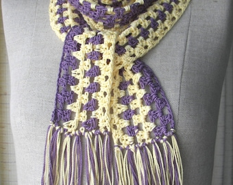 Crochet Necklace Scarf in Purple Yellow Mercerized COTTON / Los Angeles Lakers scarf