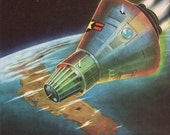 MERCURY SPACECRAFT on re-entry from orbit, 1960s outerspace print, space ship print, boy bedroom
