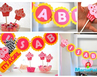 Cupcake Party Pack, Cupcake party set , Banner, cupcake toppers, centerpiece and more A1009