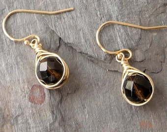 Faceted Smoky Quartz and Gold Filled Herringbone Wrapped Earrings