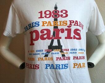 1983 Paris France Eiffel tower souvenir travel vacation holiday destination memorabilia soft thin unisex t-shirt - men's sz S/M