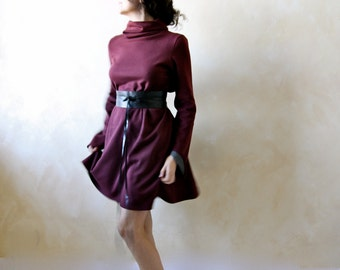 Winter Dress, Sweater Dress, Long sleeve dress, Cowl dress, women dress, burgundy dress, day dress, tunic dress, loose dress, maternity