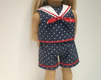 SHORTS (Navy & White Polka Dot) Sailor Suit 18 inch doll clothes