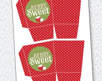 Strawberry Party PRINTABLES: Favor Box (INSTANT DOWNLOAD) by Love The Day