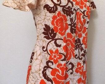 Vintage 60's Floral Print Hawaiian Minidress - Orange Tangerine - Boho Chic