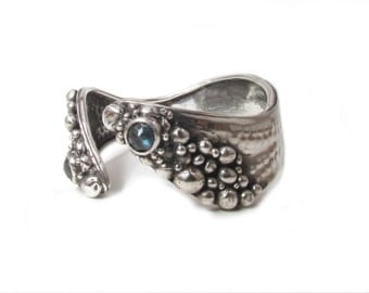 Rocky Labradorite Silver Cuff Bracelet