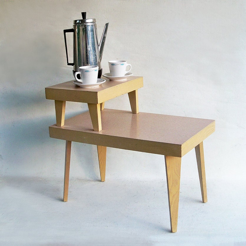 Small Mid Century Modern End Tables: Mid-Century Modern Two-Tiered End Table Side Table Blond