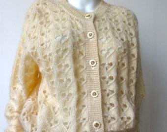 Adorable Vintage Heart Cream Cardigan Sweater
