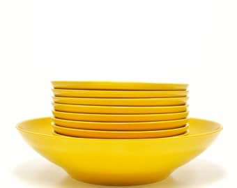 Yellow Melamine Salad Bowl Set