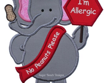 Allergic to Peanuts - Elephant - Machine Applique Embroidery Design - 3 Sizes (094)