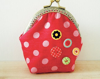 Christmas Special // Coin Purse // Buttons  // Red