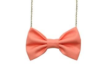 Salmon Bow Tie Necklace, Salmon Casual Women Bowtie, Bridesmaids Bow Tie