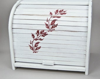 Wood Rolltop Breadbox Double Breadbox Hand Painted Cottage White with Red Stencil by OlliesFineThings