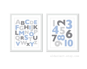 Alphabet Print Numbers Print Nursery Wall Art Set of 2 Prints Nursery Decor Nursery prints Baby Boy Nursery Art Custom Colors Aldari Art