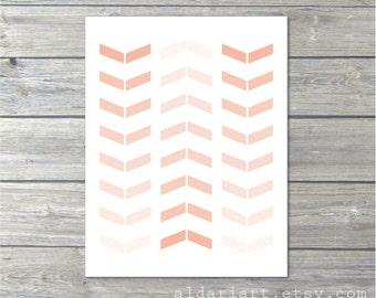 Chevron - Wall Art Print - Simple Modern Arrows - Home Decor - Pastel Peach Nectarine -Tribal - Ombre - Under 20