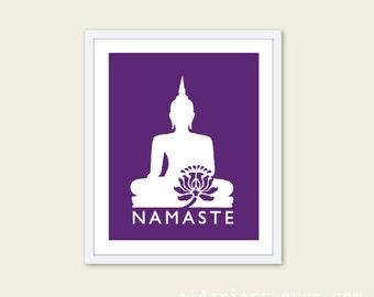 Namaste Buddha Art Print - Purple Violet - Modern Wall Art - Yoga Art -Home Decor - Zen Lotus Flower