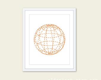 Geometric Sphere Globe  Art Print - Modern Minimalist - Simple Poster Wall Art Decor - Tangerine Orange and White