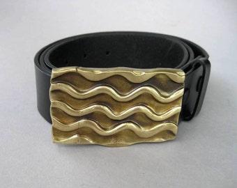 WAVES Solid Bronze Belt Buckle
