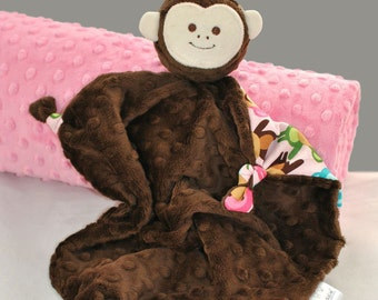 Lovey Blanket, Baby Blankie, Pink Security Blanket with Urban Zoologie Monkeys for a Baby Girl