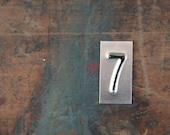 vintage industrial number 7 / metal letters / letter art