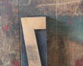 vintage letterpress, wood block stamp, typography, design / number seven, 7