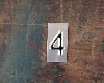 vintage industrial number 4 / metal letters / letter art
