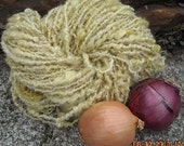 onion skin dyed 105 yard skeins Natural dyed, lock spun soft , mohair locks,plyed with gold lurex, earthy mellow yellows Garden Party Fibers