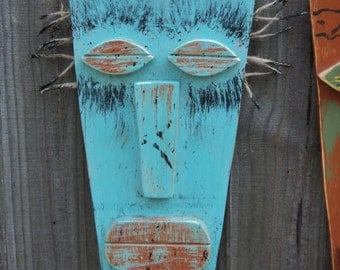 SPIKE, Tiki Man, Tiki Mask, Primitive Wall Hanging, Rustic Beach House, Wood Sculpture