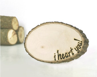 Rustic Wood Tree Slice Love Letter - Decorations Wooden Rounds Coaster Wooden Tree Slice