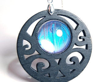 Wood Butterfly Wing Pendant Necklace - Blue Morpho