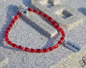 Blood Red Razor Blade Charm Bracelet