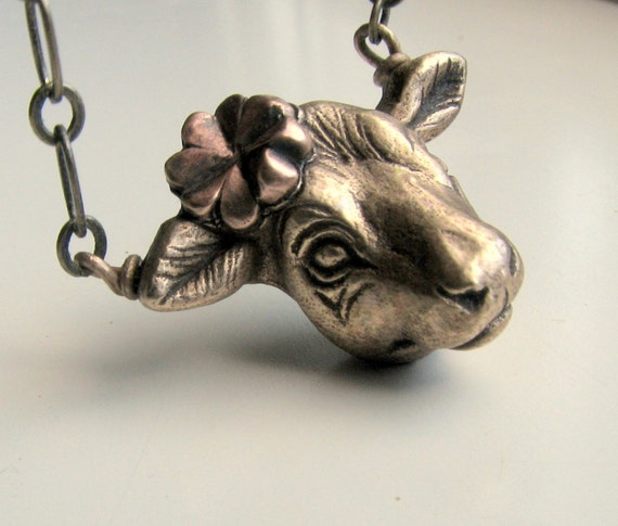 Cow pendant necklace