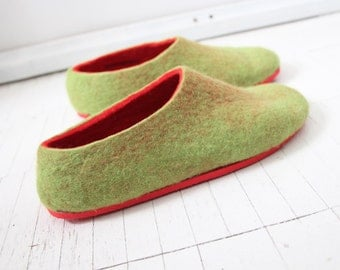 Contrast Sole Felt Slippers Red Green 10 options Color Rubber Sole Customize Women house Shoes Handmade 100% wool felt shoes Personalization