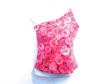 90's Club Sequin Asymmetrical Photo Rose Crop Top size - M