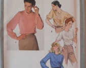Womens Vintage Sewing Pattern - Back Buttoned Blouse With Front Tucks - Simplicity 9266 - Size 12, Bust 34, Uncut