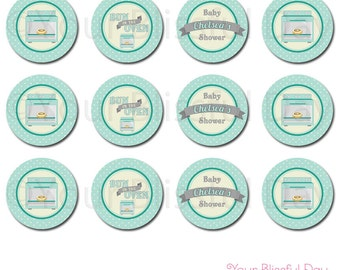 PRINTABLE Bun in the Oven Baby Shower Party Circles (Personalized) #202