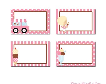 PRINTABLE Girl Ice Cream Party Label Tents #534
