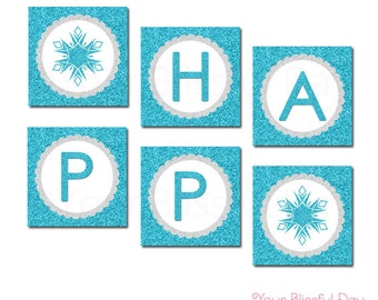 PRINTABLE Sparkly Snowflake Banner #587