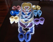 SALE: Bibs And Booties Sets, Multicolor Booties And Bib Sets, Gift For Infant, Infant Wear, Crochet Bibs And Booties