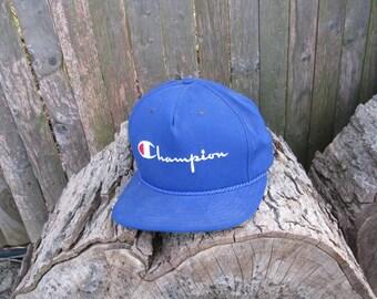 Vintage Champion Embroidered Snapback Hat