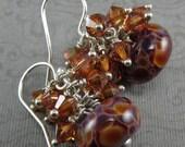 Copper Purple Sterling Silver Earrings Lamp Work Boro Crystal