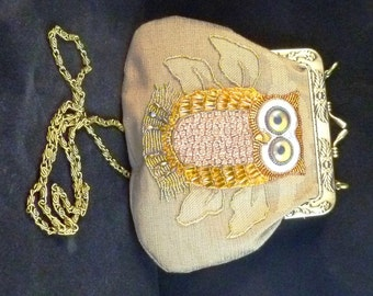 SALE Bead embroidered  OWL fabric purse/handbag with Kiss Clasp...
