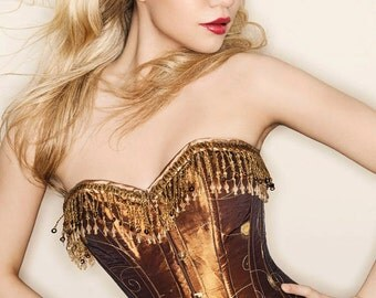 SALE item. Steampunk corset. burlesque Bronze / gold corset UK size 8. Recycled material. Vintage classic style