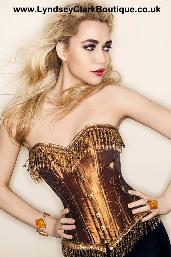 Steampunk corset. burlesque Bronze / gold corset UK size 8. Recycled material. Vintage classic style
