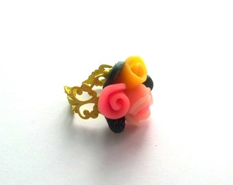 Multicolor polimer clay flower ring, adjustable brass ring, retro jewelry, romantic jewelry, for mothers, gift for her, mother's day, ring