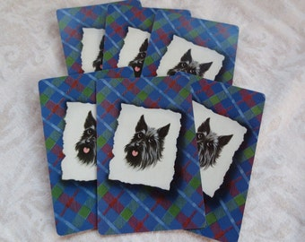 6 Scottie Dog Vintage Playing Cards
